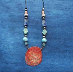 Rebel Queen ceramic and copper statement necklace/ handmade Jewellery Box, Jewelry Art, Unique Jewelry, Ceramic Necklace, Beaded Necklace, Ancient Artefacts, Green Opal, Copper Jewelry, Handmade Necklaces