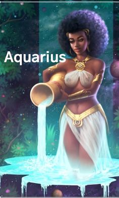 Aquarius - The Water Bearer, an art print by Clarence Bateman Aquarius Art, Aquarius Tattoo, Aquarius Woman, Aquarius Zodiac, Zodiac Horoscope, Horoscopes, Black Love Art, Black Girl Art, Black Girl Magic