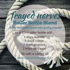 """""""frayed nerves"""" essential oil roller bottle blend calms and soothes nerves when you're feeling frazzled -- plus free printable and labels for 21 essential oil roller bottle blend recipes Ginger Essential Oil, Essential Oil Diffuser Blends, Doterra Essential Oils, Young Living Essential Oils, Yl Oils, Doterra Blends, Roller Bottle Recipes, Printable Labels, Free Printable"""