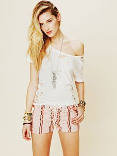 Free People Spicoli Stripe Stubblies Short