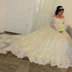 >> Click to Buy << Vestido De Noiva 2016 Vintage Lace Ball Gown Wedding Dress Sexy Long Sleeve Off the Shoulder Muslim Wedding Dresses Vestidos #Affiliate