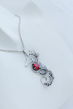 Seahorse silver neckalce with red topaz - Sterling silver jewelry - wire wrapped pendant - gift for women - ooak animal jewelry