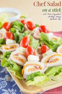 Last Minute Party Foods  - Chef Salad On A Stick - Easy Appetizers, Simple Snacks, Ideas for 4th of July Parties, Cookouts and BBQ With Friends. Quick and Cheap Food Ideas for a Crowd  http://diyjoy.com/last-minute-party-recipes-foods