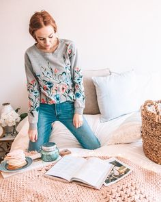 Sundry Embroidered Sweatshirt Photo via @alexismaymcmullin