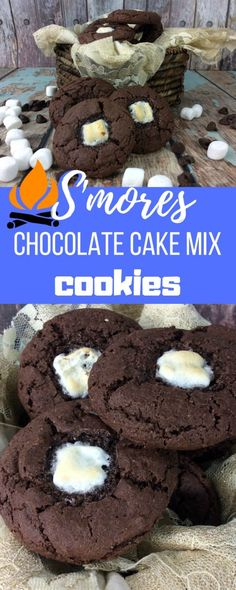 S'mores Chocolate Cake Mix Cookies Recipe Melissa Llado These Chocolate Cake Mix Cookies Are A Family Favorite And Perfect For Your Next Camping Trip Or Backyard Bbq. Attempt These Chocolate Cake Mix Cookies. Easy Desserts, Delicious Desserts, Dessert Recipes, Yummy Food, Sweet Desserts, Chocolate Cake Mix Cookies, Smores Cookies, Smores Cake, Cake Mix Cookie Recipes