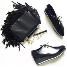 New FW15 Collection with the bag Lea Franges and Anatol Shoes #annefontaine #handbag #shoes #fringes #black #accessories