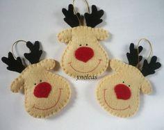 Natale feltro ornamenti Feltro Natale Rudolph la renna di ynelcas