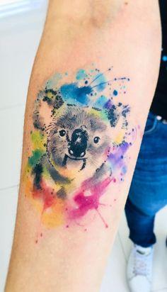 Watercolor Tattoos Will Turn Your Body into a Living Canvas - Watercolor Tattoos Will Turn Your Body into a Living Canvas cute watercolor koala tattoo © tattoo artist Javi Wolf Javi Wolf 💕💕💕💕💕💕 Key Tattoos, Body Art Tattoos, Tatoos, Javi Wolf, Koala Tattoo, Koala Craft, Zealand Tattoo, Aquarell Tattoos, Fairy Tattoo Designs
