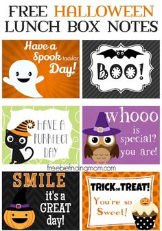 Free Printable Halloween Lunch Box Notes Free Printable Halloween Lunch Box Notes – Surprise the kids (or your spouse) at lunch with a sweet or spooky Halloween lunch box note. Add a personal touch by writing a message on the back. Holidays Halloween, Halloween Treats, Fall Halloween, Happy Halloween, Halloween Party, Halloween Decorations, Halloween Lunch Ideas, Halloween Labels, Haunted Halloween