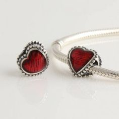 Pandora Enamel Charms-Pandora Sterling Silver Everlasting Love Charm- 15.98