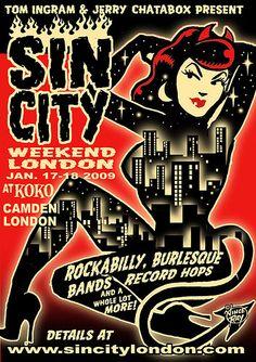 Poster art for Sin City in low brow style Vintage Web Design, Retro Design, Graphic Design, Las Vegas, Rockabilly Art, Sign Writing, Grunge Art, Flash Art, Sin City