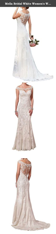 Mella Bridal White Women's Wedding Dress Sexy Backless Sweetheart Lace Wedding Dresses for Brides 2017 Spring 2016 Winter (US12). Mella Wedding Dress for Women 2017 for Brides New Design Glamorous Bridal Gowns with Illusion Lace Racer-back. Chic, sexy, glamorous, and luxurious, this beautiful satin sheath wedding dress from the Mella bridal gown collection boasts an illusion lace bateau neck with sweetheart styling, an illusion lace racer-back, a form-fitting skirt, and elegant train…