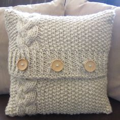 Braided Cable chunky hand knit 16 x 16 pillow cover.  Love the buttons.  Such a cozy look!