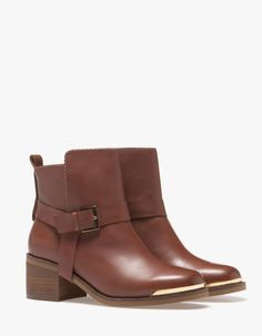 Stradivarius Bottines cuir plaquette