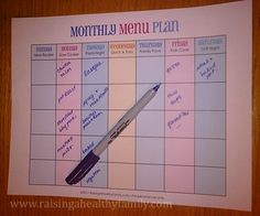 Printable Monthly Menu Plan with theme ideas - fastest way to plan healthy meals ever.