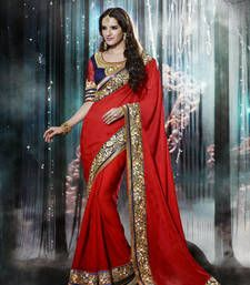 Buy Red Sequence Work Crepe Jacquard Designer Saree With Blouse jacquard-saree online