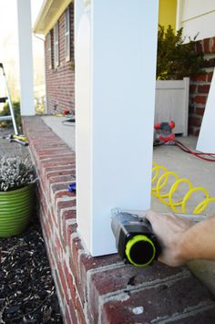"""Love the red brick!! """"Removing our porch's dated scalloped header and boxing out the curvy columns (Part 1)"""""""