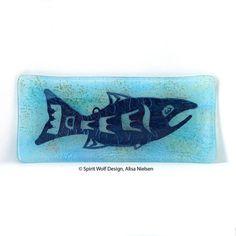 "Salmon Sushi Platter – Kiln Formed Glass – Approximately 5"" x 11"" x 1/2"" Deep"
