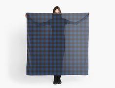 Buffalo plaid scarf  in navy and black.  by linepush