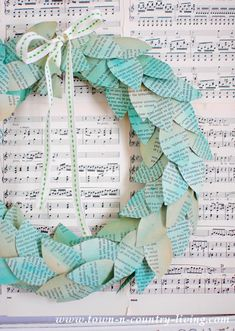 Color washed book page wreath made with old book pages