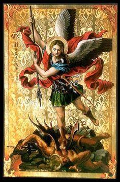 São Miguel Arcanjo, defendei-nos no combate, sede nosso refúgio contra as maldades e ciladas do demônio! Ordene-lhe Deus, instantemente o pedimos; e vós, Príncipe da Milícia Celeste, pelo poder Divino, precipitai ao inferno a satanás e a todos os espíritos malignos que andam pelo mundo para perder as almas. Amém