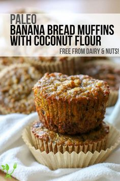 Paleo Banana Bread Muffins (Dairy Free, Nut Free) Healthy Paleo breakfast on the go! These Banana Bread Muffins are made with coconut flour and are dairy free, nut free, gluten and grain free. Coconut Flour Banana Bread, Flours Banana Bread, Coconut Flour Recipes, Gluten Free Banana Bread, Coconut Flour Cakes, Baking With Coconut Flour, Paleo Bread, Pita Bread, Almond Flour
