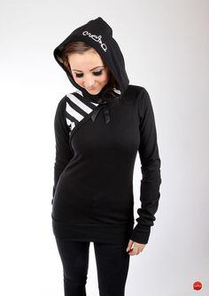 """MEKO Hoodie """"AHOI"""" gestreift schlicht Schwarz Weiß von meko® Store   auf DaWanda.com"""