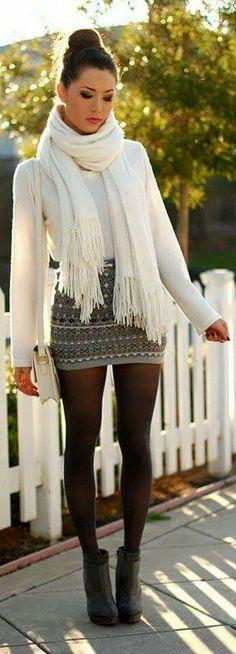 Con mallas para el frio, falda hermosa