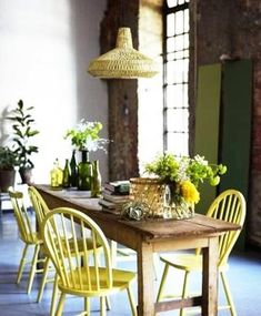 Dining furniture in yellow color looks sunny warm and perfect for country-style kitchens dining room decorating