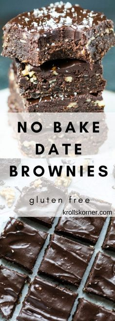 Gluten-Free No Bake Brownies with Dates and Peanut butter! - Kroll's Korner...