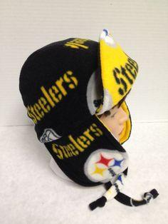 Reversible Fleece Steelers Bomber Ear Flap Hat by FleeceHatsGalore, $30.00