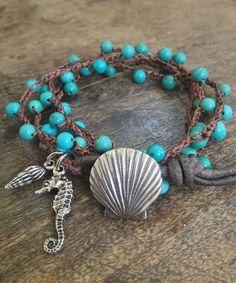 "Turquoise Sea life Multi Wrap Crochet, Leather Bracelet, Anklet, Necklace ""Beach Chic"" Ocean Blue"