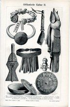 "b african culture II german 1894 lithograph 6 x 9"" $25"
