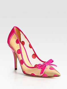Kate Spade New York Polka-Dot Patent Leather, Mesh and Velour Point Toe Pumps