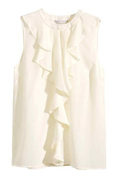 Sleeveless, fitted blouse in mulberry silk with ruffles and keyhole opening at front. Concealed button at neckline. White Silk Blouse, White Sleeveless Blouse, Ruffle Blouse, Plus Sise, Work Fashion, Shirt Blouses, Fashion Online, Outfits, Clothes