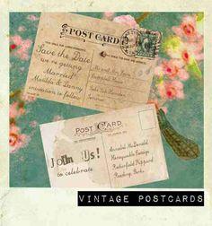 Honeymoon destination postcard invitations