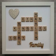 10x10 Frame Wood/Plastic Scrabble Art Picture Family