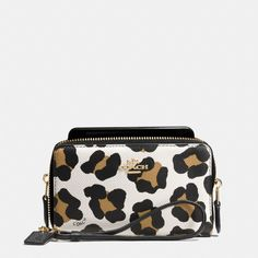love this for my phone wallet!!!!!  The Double Zip Phone Wallet In Ocelot Print Leather from Coach
