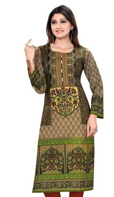Green Color Pakistani Style Cotton Printed Full Sleeves Long Kurti