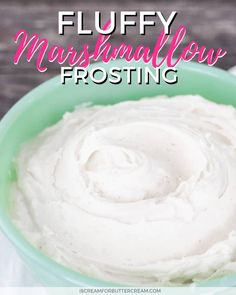 Fluffy Marshmallow Frosting This delicious fluffy marshmallow frosting is the perfect fluffy white icing recipe for cakes and cupcakes. You'll use marshmallow fluff and no egg whites in this frosting recipe and it's super easy and quick to m Marshmallow Frosting Cupcakes, Cupcake Icing, Chocolate Cupcakes, Cupcake Cakes, Coconut Frosting, Icing Frosting, Cream Frosting, Coconut Cakes, White Icing Recipe For Cake
