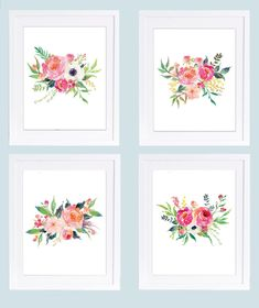 Set of 4 Prints, Floral Nursery Prints, Instant Download, Boho Printable, Peony Prints, Peony Art, Floral Nursery Art, Watercolor Flowers  THE ART: This stunning digital design set features four 8 x 10 inch floral prints. The pink and coral colored assortment of watercolor flowers creates a stunning gallery wall. Perfect for a nursery or little girls room!  YOUR FILES: Four instant download JPG files are size 8 x10 inches (High print quality 350 dpi). ***Please Note: these are DIGITAL FILES…