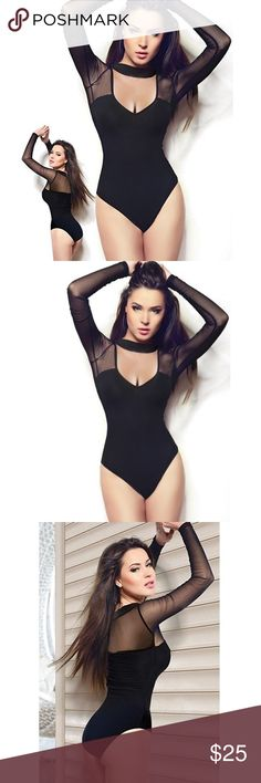 Long black sleeve mesh bodysuit Brand new never work perfect condition body suit. Size small. I'm 5,3 and 125 pounds fits me fine. Decided I was never going to wear it so I'm selling it. Happy poshing☺️ Tops Blouses