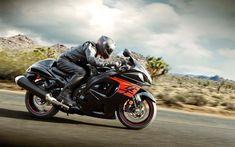 Download wallpapers Suzuki GSX-1300 Hayabusa, 2018, 4k, new motorcycles, sportbike, new GSX-1300, Japanese motorcycles, road, speed, Suzuki