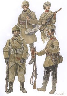 "Belgian Soldiers of World War One, late years Cyclist, 4th Division "" Note the shortened greatcoat with flap-less pockets. Cyclists were issued the breeches and leggings of the mounted branches, worn here with blackened boots. This branch was the..."