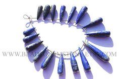Lapis Lazuli Smooth Long Drops Quality A 7.5x23 to 5.5x41 #lapislazuli #lapislazulibeads #lapislazulibead #lapislazulidrops #dropsbeads #beadswholesaler #semipreciousstone #gemstonebeads #beadsogemstone #beadwork #beadstore #bead