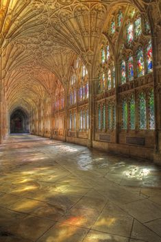 """This is magical…. """"Cloisters at Gloucester Cathedral, Gloucestershire, Engla… This is magical…. """"Cloisters at Gloucester Cathedral, Gloucestershire, England by F A Z """" Art Et Architecture, Cathedral Architecture, Beautiful Architecture, Beautiful Buildings, Ancient Architecture, Architecture Religieuse, Die Renaissance, Gloucester Cathedral, Cathedral Church"""