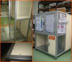 Estructura-cabina en perfil de aluminio MiniTec para máquinaria de pruebas.