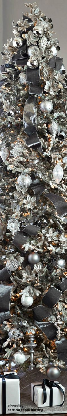 Balsam Hill tree design in silver and charcoal gray