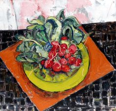 Radishes...Bernard Chaet,  1999  oil on canvas, 18 x 18 inches.
