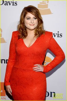 Meghan Trainor Wears Red Dress to Go With New Red Hair!: Photo #929248. Meghan Trainor shows off her new hair color while making a stunning entrance on the carpet at the 2016 Pre-Grammy Gala and Salute to Industry Icons on Sunday (February…